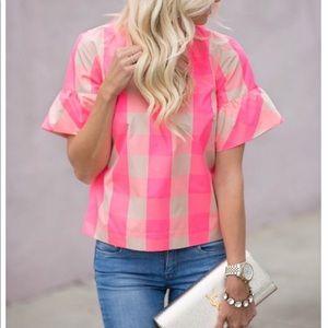J.Crew Neon Pink Top Blouse Shirt plaid size 6